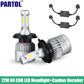 S2 Partol H4 COB LED Headlight 72W 8000LM All In One High Low Beam Car LED Headlights Bulb Head Lamp 6500K+Canbus Adapter 12V