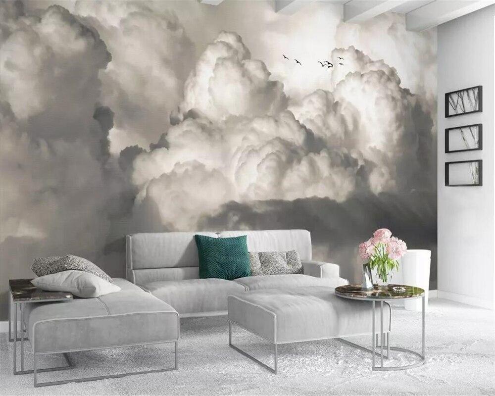 Beibehang Wallpaper European-style Hand-painted Retro Nostalgic White Clouds Bird TV Background Walls Decorative 3d Wallpaper