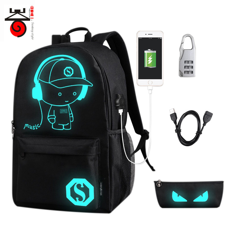 Senkey Luminous Cartoon Men Women's Teenagers School Backpack Night Lighting Bags with USB charging backpacks Pensil bag