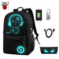 Senkey Luminous Night Lighting USB charging schoolbag boy girl teenage teenagers Cartoon backpack to school bag Student book bag