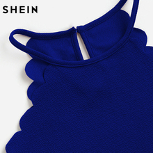 SHEIN Crop Tops Women Solid Blue Scallop Trim Halter Top Summer Women's Sleeveless Camisole Women Sexy Top