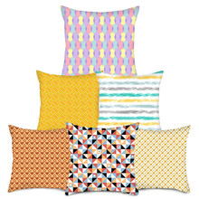 Fuwatacchi Striped Diamond Wave Throw Pillow Cover Color Stripe Geometry Cushion Cover for Home Chair Decorative Pillows 2019 цена