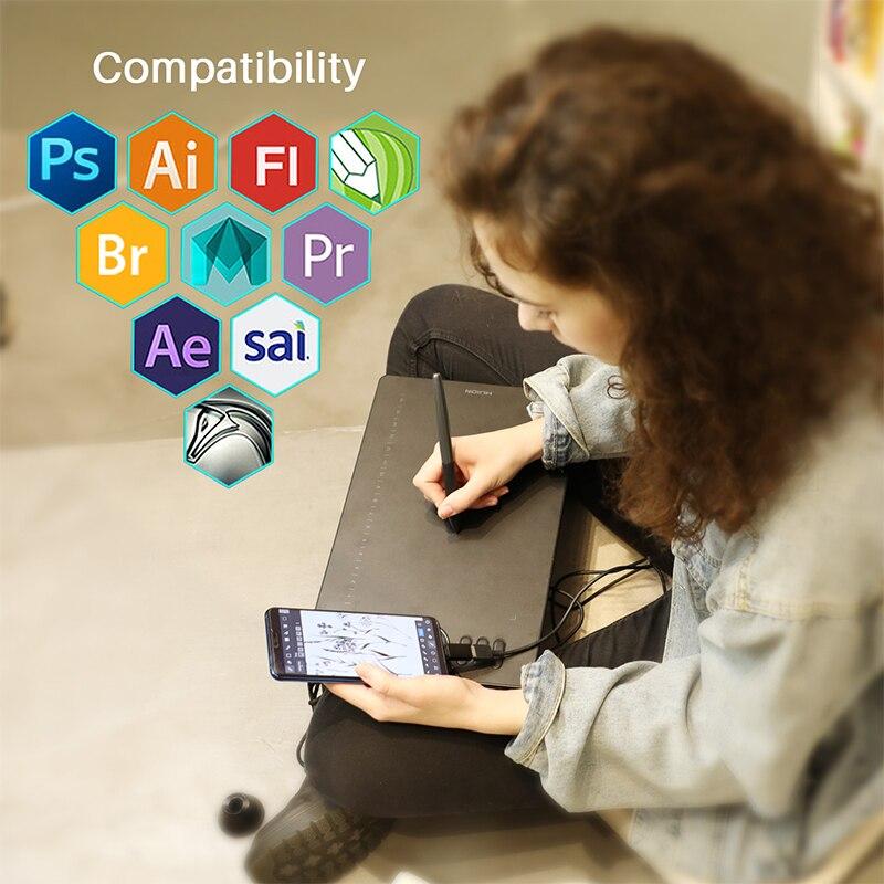 HS610 HUION Gráficos Desenho Tablets Digital Battery-Free Pen Tablet Android OTG Tablet Telefone com Inclinação para Windows Mac SISTEMA OPERACIONAL
