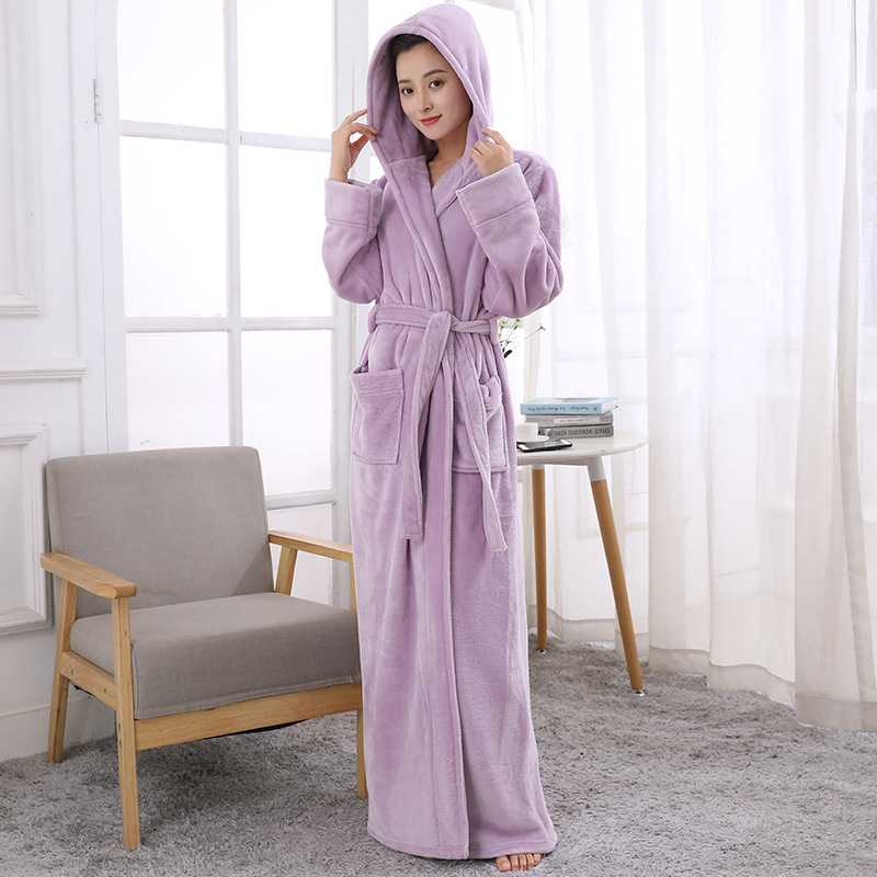 eefffb0cd9 Light Purple Luxury Ladies Warm Soft Full Length Hooded Bathrobes Dressing  Gowns Housecoat for women thick