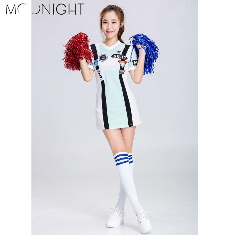 MOONIGHT Sexy High School Girl Cheerleader Costume Cheer Uniform Cheerleading Dress S-2XL