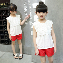 New Arrival 2016 summer girls white shirts fashion ruffle short-sleeve lace embroidered t-shirt girl top