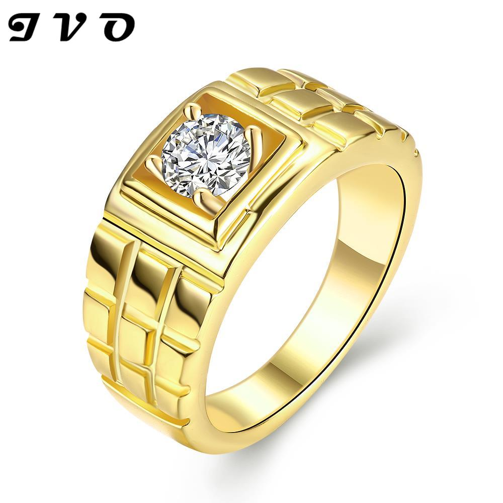 Newest Trendy Male Jewelry Crystal Rings Wedding, Korean Couple Ring For  Men 24k Gold Color