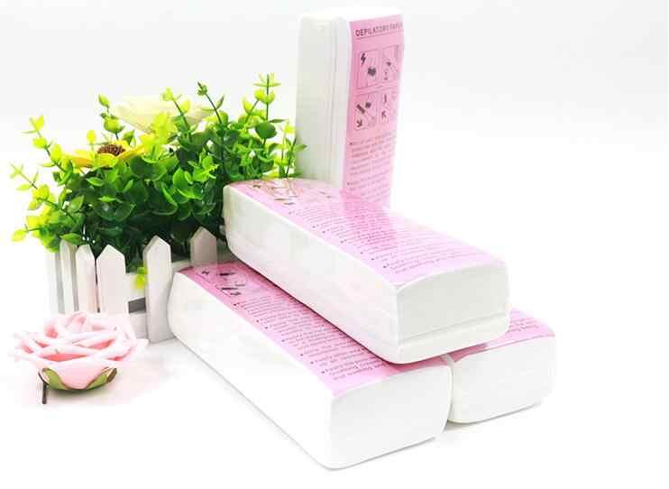 100 adet Epilasyon Tüy Dökücü kağıt Nonwoven Epilatör balmumu şerit kağıt rulosu Ağda ücretsiz balmumu ve kağıt epilasyon tüy dökücü kağıt