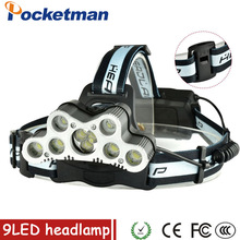 Super 36000LM USB 9 LED Led Headlamp Headlight head flashlight torch XM-L T6 head lamp rechargeable for 18650 battery цена
