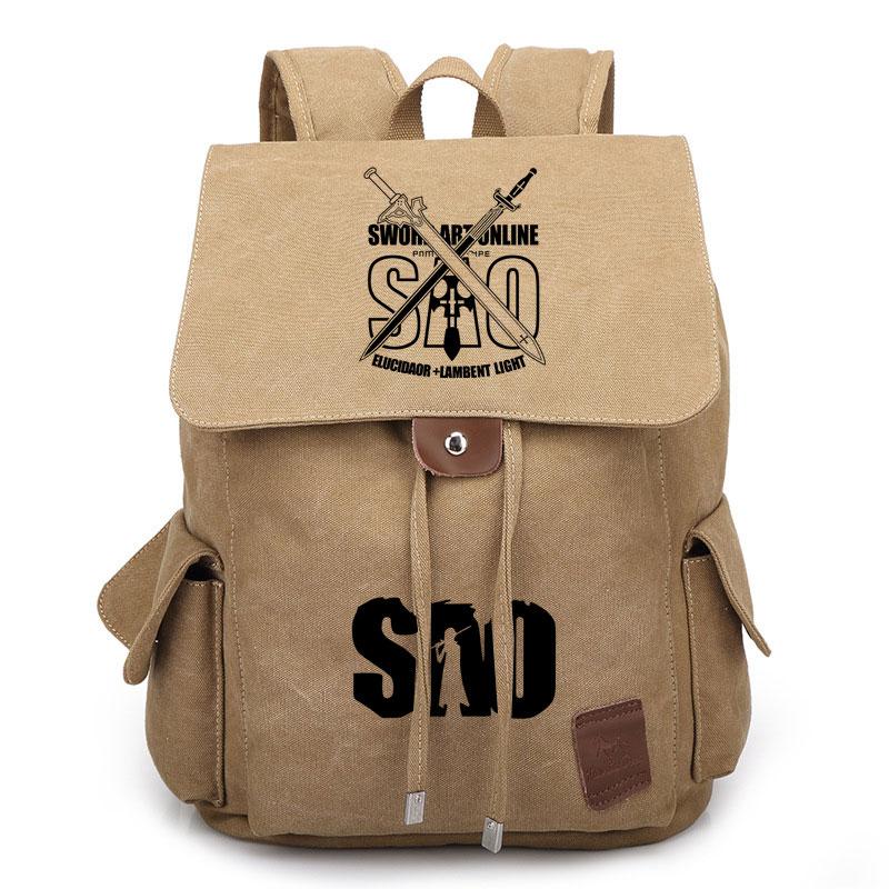 Anime Sword Art Online Canvas Cosplay Backpack Drawstring Big Capacity Casual Travel School Shoulder Bag Student Laptop Rucksack