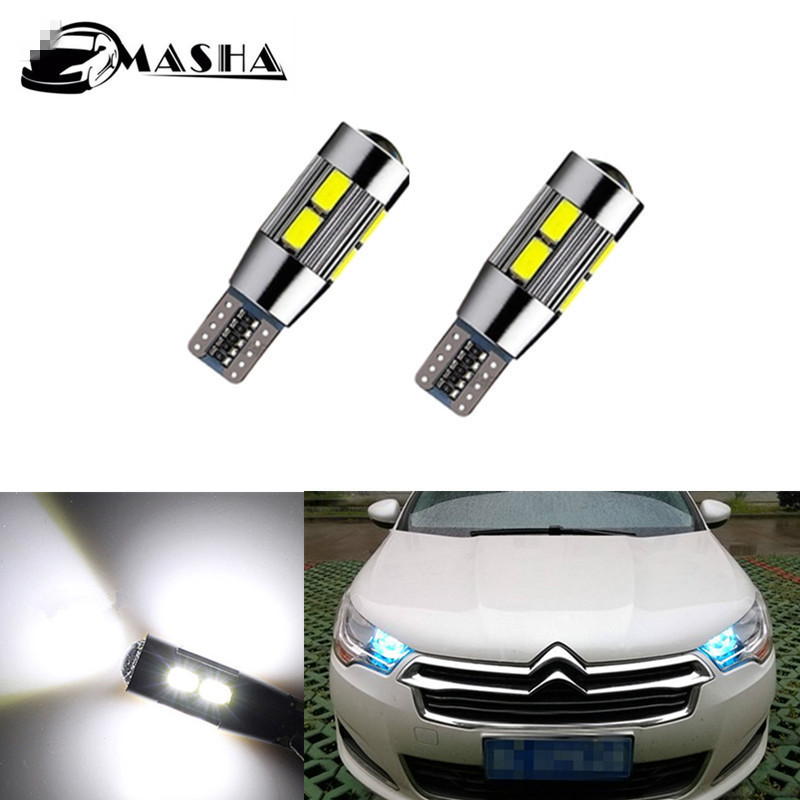2x Canbus T10 W5W 5630 SMD 10 LED Car Wedge Lights Lamp Side Parking Clearance Light For Citroen C4 C5 C3 C2 Berlingo Xsara Saxo image