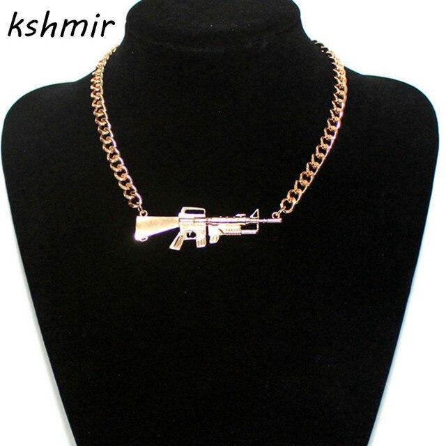 Accessoires de mode étoile en métal lourd rihanna pistolet scatter-gun collier femelle collier Populaire or et argent Homme collier