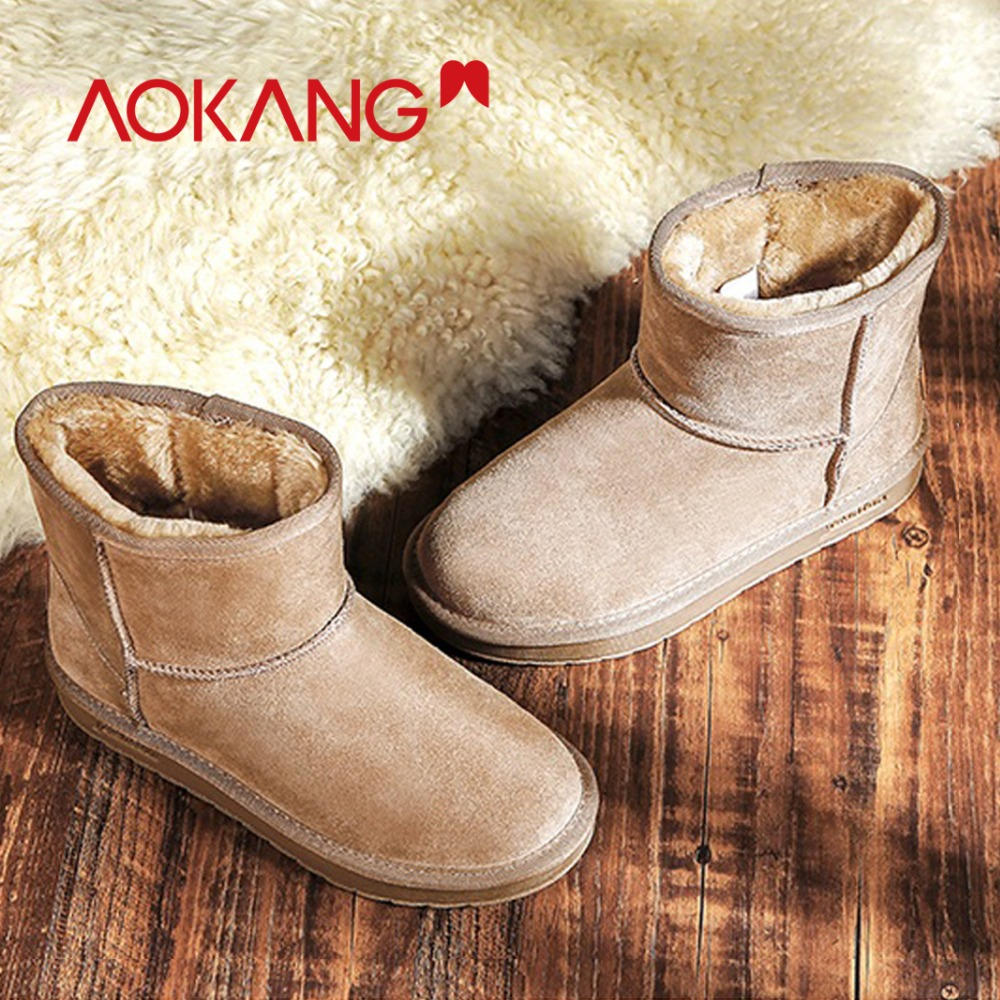 AOKANG 2018 invierno botas para la nieve de las mujeres rebaño de felpa caliente plantilla tobillo botas para mujer Mujer Zapatos de alta calidad mujer ronda botas con punta