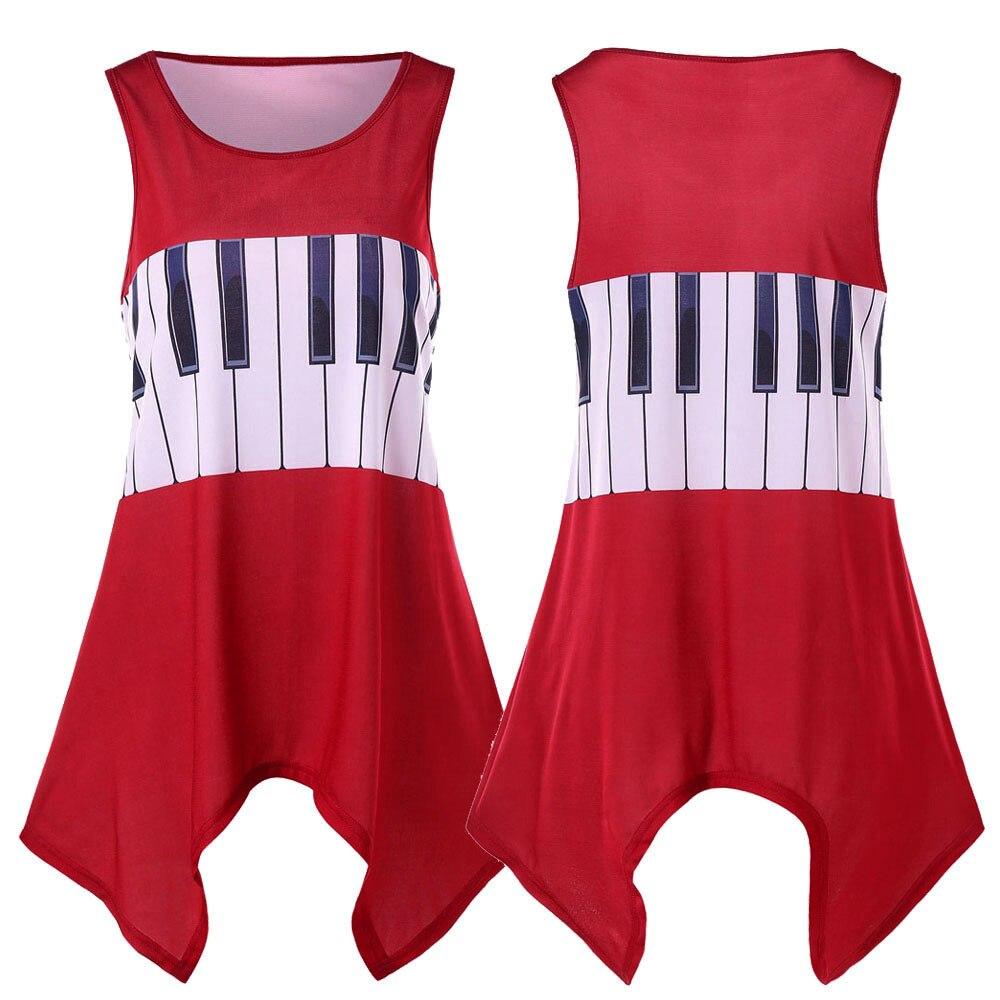 Womail Women Summer Shirt Ladies Irregular Hem Sleeveless Vests Tank Musical Note Printing Shirt Round Neck Tops Blusas 18.May18