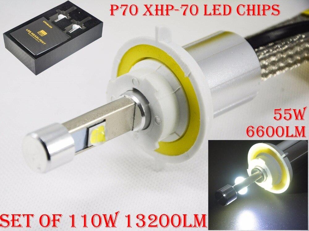 1 компл. 110 Вт 13200lm P70 светодиодные фары Тонкий Conversion Kit 12/24 В супер яркий безвентиляторный xhp-70 4LED чипов автомобилей Лампы для мотоциклов лампы ...