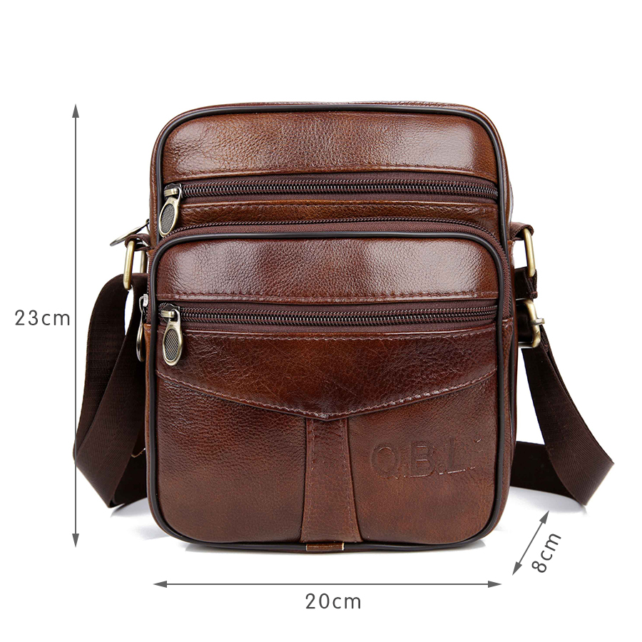 QiBoLu Cow Genuine Leather Messenger Bags Men Travel Business Crossbody Shoulder Bag for Man Sacoche Homme Bolsa Masculina MBA19 in Crossbody Bags from Luggage Bags