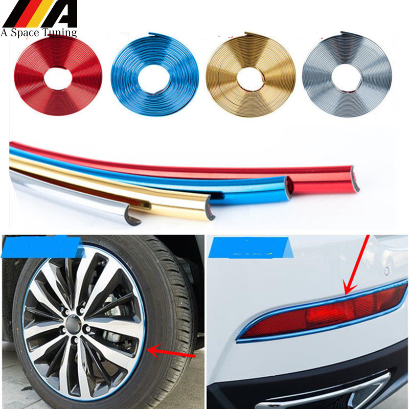 5x8mm U Style Chrome Silver Trim Strip Car Bumper Air Vent Grill Switch Prevent Scratches And Dent Rim Moulding Trim 40metres Styling Mouldings