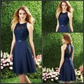 2017 A-Line Halter Chiffon Dark Navy Color Bridesmaid Dress WIth Lace Top Sleeveless Short Prom Dress For Wedding Party Evening