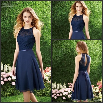 A-Line Halter Chiffon Dark Navy Color Bridesmaid Dress WIth Lace Top Sleeveless Short Prom Dress For Wedding Party Evening