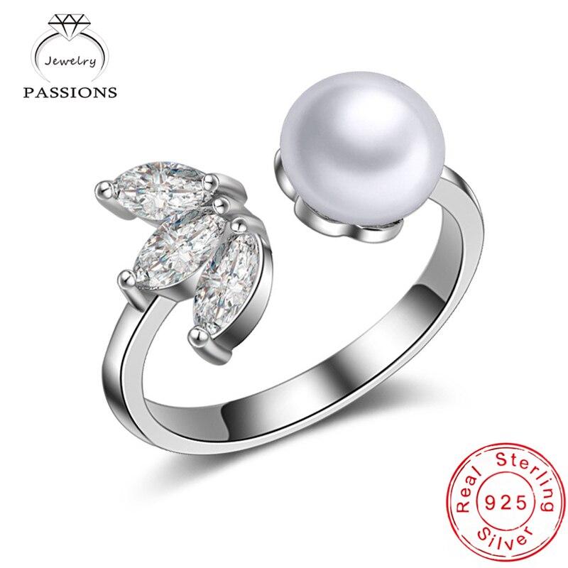 Velkoobchod módní 925 mincovní stříbro AAA zirkonové prsteny otevřená nastavitelná jemná perlová květina drahokamu CZ prsteny dámské šperky dárek