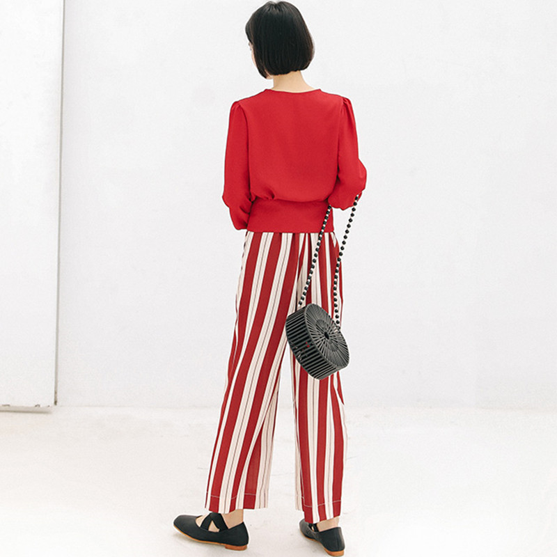 Frilled High Waist Striped Pants Women Fashion Clothing Elastic Waist Ladies Trousers 2019 Spring Autumn Casual Wide Leg Pants