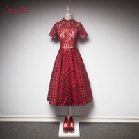 Taoozor Новое поступление вечерние платья халат 2018 кружевные цветы красный Бальные платья для девочки высокое Средства ухода за кожей шеи атла