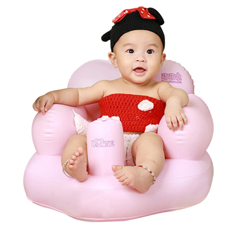 With Air Pump Kids Bath Seat Chair Baby Inflatable Sofa Dining Pushchair Infant Portable Play Game Mat Sofas Learn Stool 0-24M