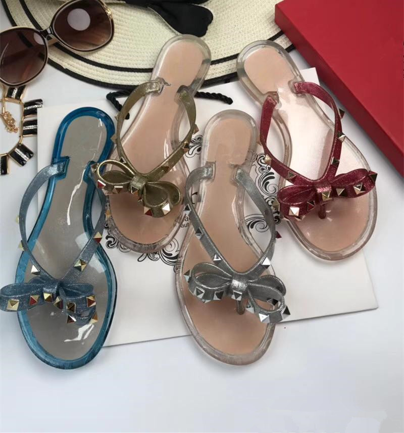 Women summer bowtie Jelly flip flops Fashion rivets thong sandals Chic beach jelly shoes EU35-41 size BY403