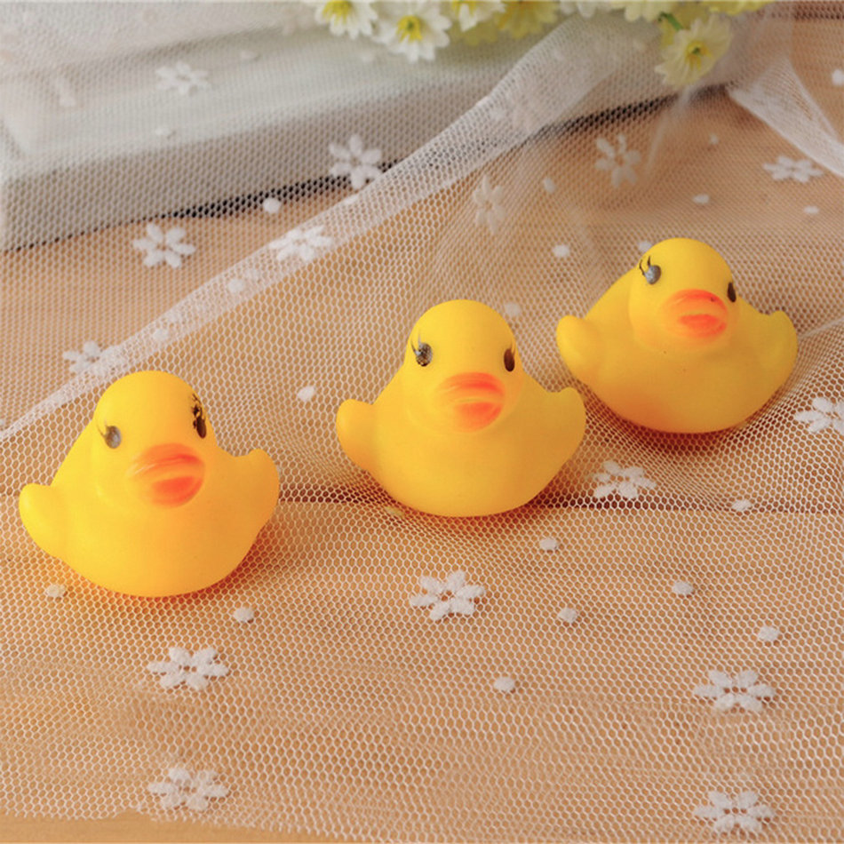 Hot! 10pcs Baby Bathing Bath Tub Toys Mini Rubber Squeaky Float Duck Yellow Brand New Sale