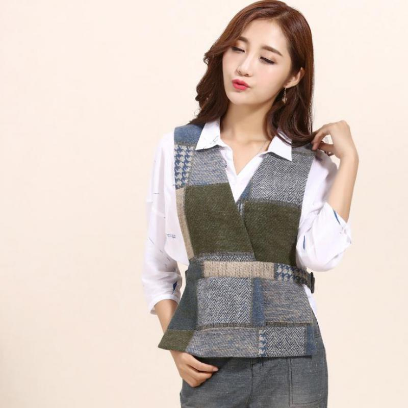 Woman Spring Plus Size Plaid 30% Woolen Outerwear Female Autumn Oversized Wool Overcoat Women Hedging Vests Lady Winter Vest