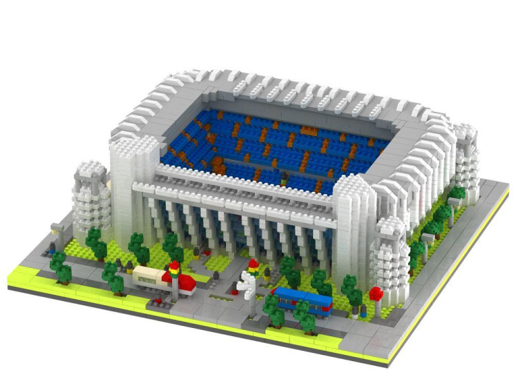 ALEN  4575PCS Mini Qute world architecture Bernabeu Stadium football Court plastic building blocks educational toy