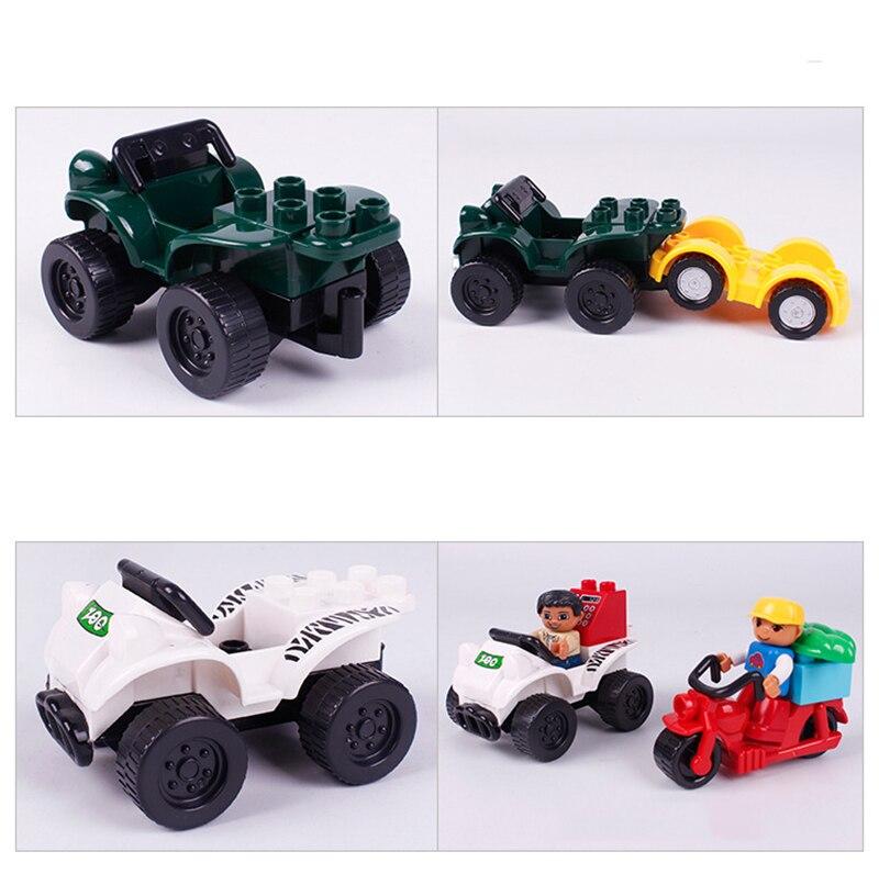 Big SIze Building Blocks Accessory City Bus Truck Aircraft Transport Fire Truck Brick Model Compatible Duploe Toys for children  (4)
