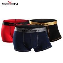 Seven7 marke männer atmungs underwear boxer 3 stücke pack bequeme hohe elastische sexy boxer-männer shorts hosen 110f08030