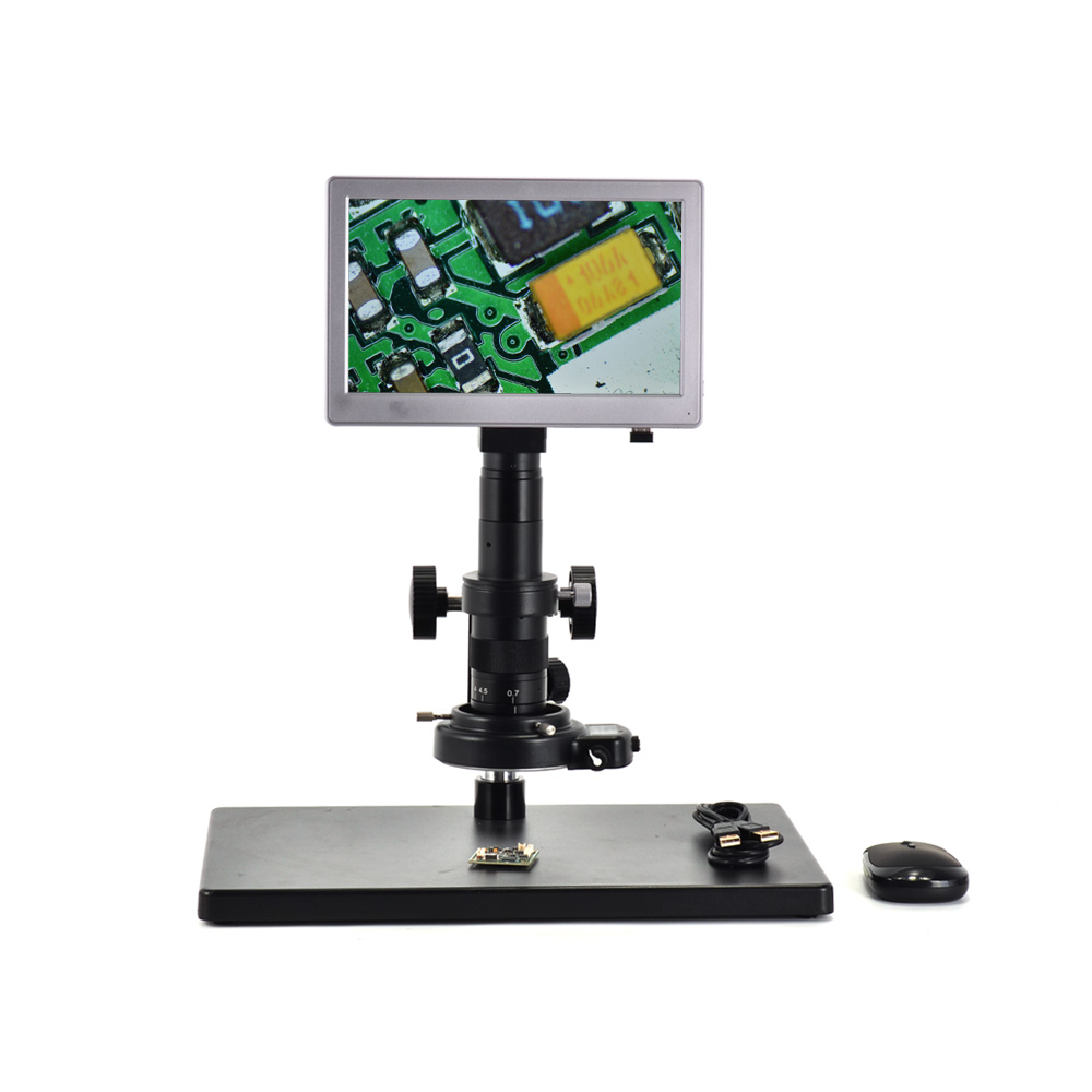USB Microscope Camera AIO 5.0MP 9 Screen Tablet Camera Digital Microscope Camera+Table Stand+180X C-mount Lens