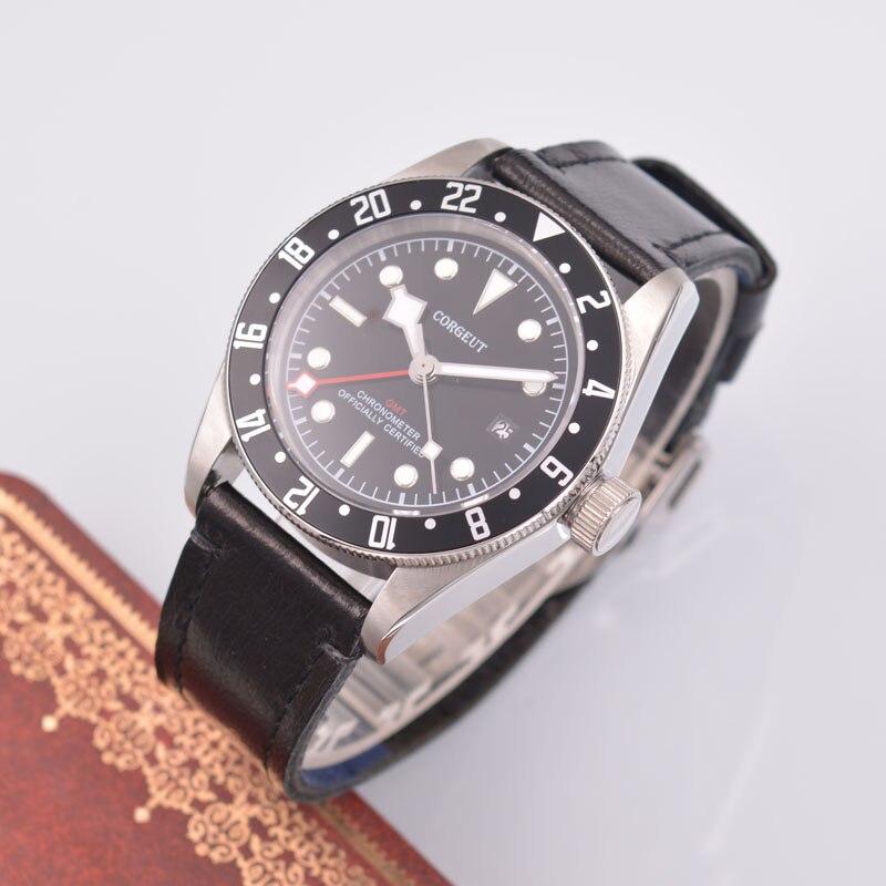 41mm Corgeut Black Watch GMT Men's Automatic Mechanical Watch Fashion Business Calendar Mechanical Watch цена и фото