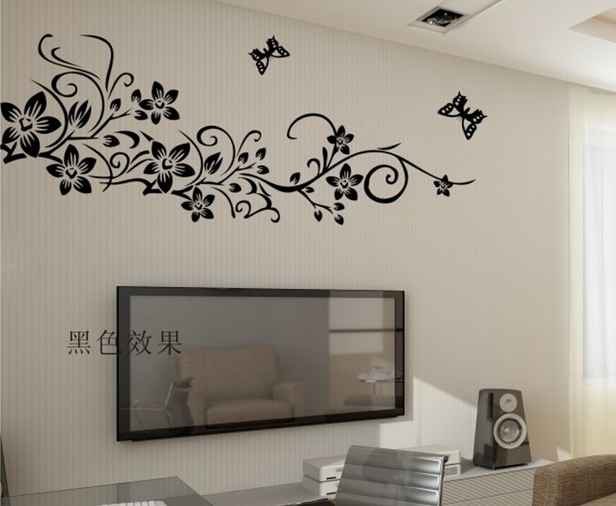 Classical Black Flower Vine Home Decoration Wall Decal - Wall decals in pakistanblack flowers removable wall stickers wall decals mural home art