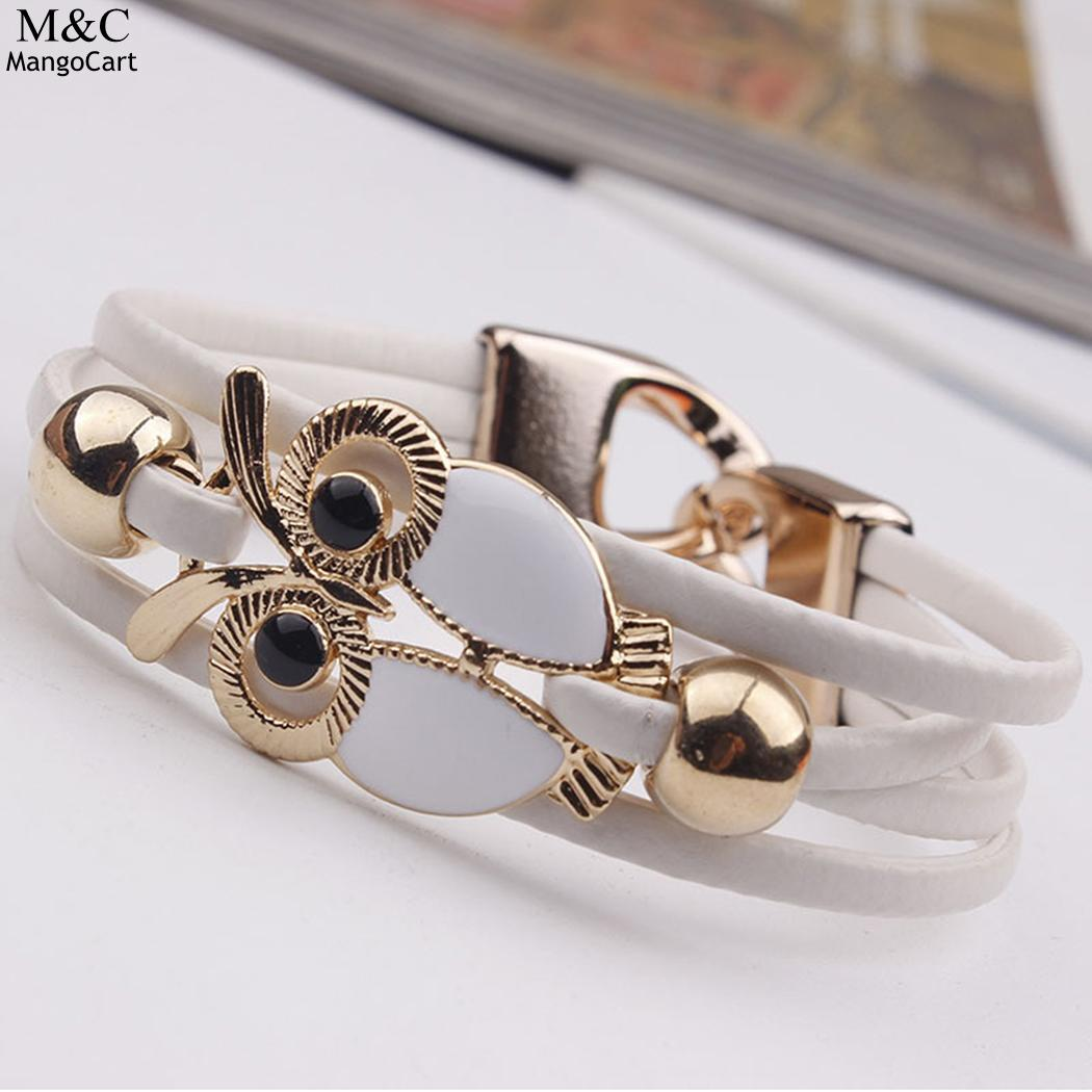 Shaped Casual Exquisite Fashion Wide Layered Owl Women Bracelet