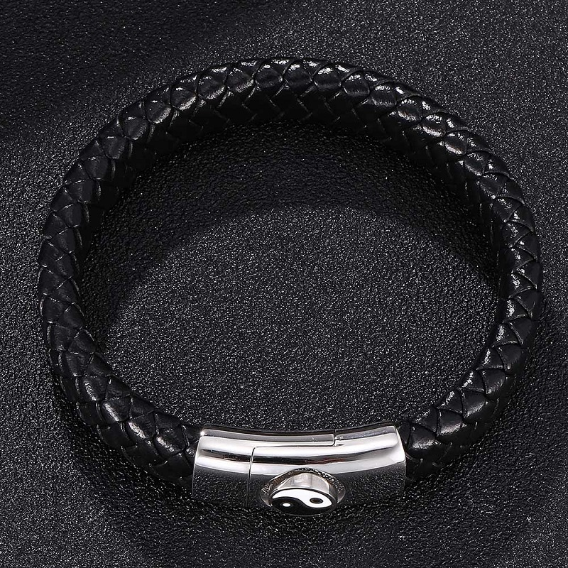 Fashion Bracelets for Men Black Leather Braided Bracelet Bangles Tai Chi Chart Magnetic Buckle Male Wrist Band Jewelry Gifts 313 in Charm Bracelets from Jewelry Accessories