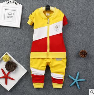 2016 novos conjuntos de roupas primavera outono do Menino Do Bebê Conjuntos de fatos de treino de algodão menino Crianças Dos ternos do esporte dos desenhos animados casacos/camisolas + calças