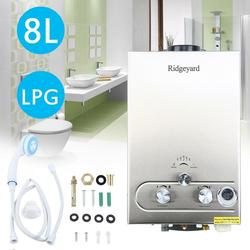 8L GAS LPG Boiler Propane Gas Instant 2GPM Tankless Water Heater Stainless Steel