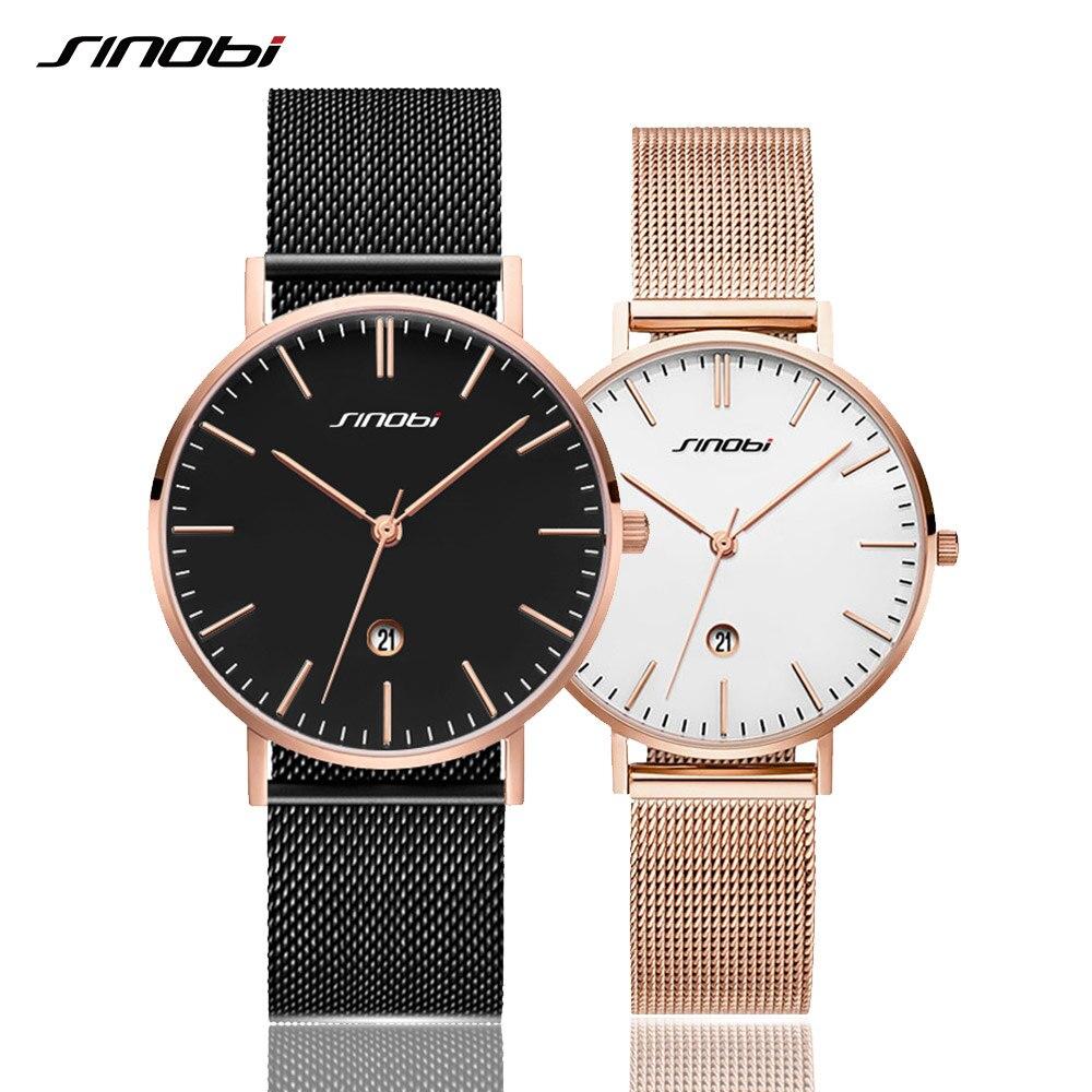 New Valentine Gift Lovers Watches SINOBI Simple Gold Mesh Belt Wrist Watches Couple Watches Men Women Watch Clock Girls Watches