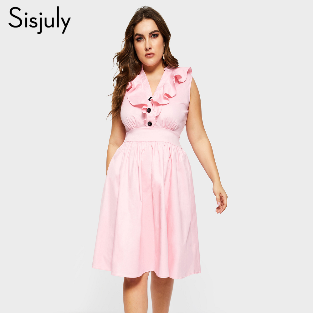 Sisjuly Plus Storlek 4XL Women Party Work Retro Söt Rosa Blå Klänning Office Lady Falbala Ruffle Deep V Draped Midi Lång Klänningar