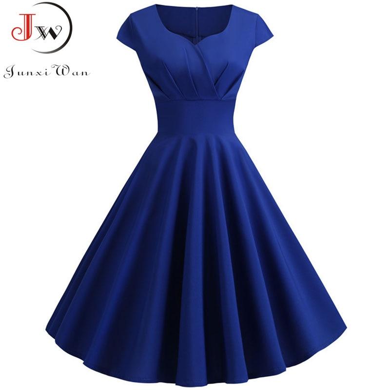 Plus Size Summer Dress Women Hepburn Vintage Rockabilly Pin Up Dress Robe Femme Casual Retro Elegant Party Midi Sundress Jurken