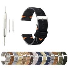 купить Watch Bands Genuine Leather Suede Watch Strap Belts 18mm 20mm 22mm High Quality Black Watchband Repair Tools Accessories KZSD03 по цене 634.38 рублей