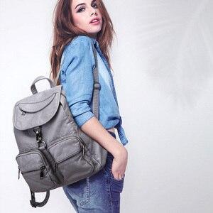 Image 2 - Рюкзак из мягкой потертой кожи для девочек, водонепроницаемый винтажный большой Многофункциональный модный ранец для женщин