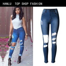 HANLU Woman Sexy Ripped Hole holloe out jeans Ladies Casual Jeans Summer Spring Plus Size street fashion