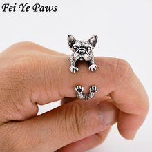 1Piece Vintage Hippie Brass Knuckle Anillos Dog Ring Boho French Bulldog Anel Masculino Couple Love Rings For Women Men Jewelry