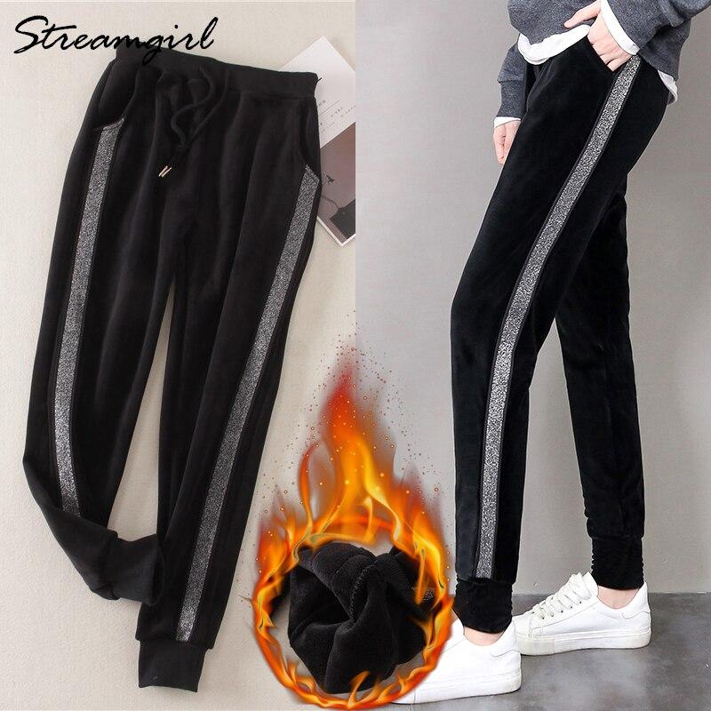 Pantalones de terciopelo con rayas de invierno para mujer Pantalones cálidos gruesos Pantalon mujer holgados a rayas pantalones de chándal de invierno 2018