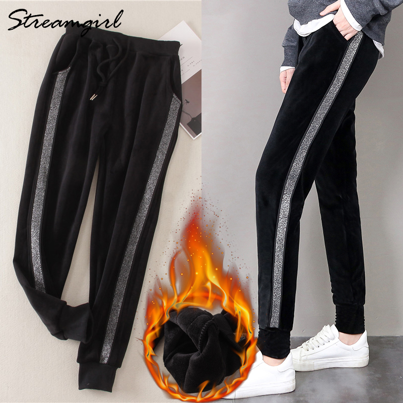 Velvet Pants With Stripes Women Winter Warm Pants Women Thick Warm Pantalon Femme Loose Striped Trousers Winter Sweatpants 2018