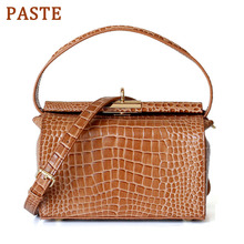 PASTE Retro Box Women Bag Crocodile Pattern Cow Leather Handbag Female Shoulder Messenger Bag Luxury Lock Tote Bags Purse Beige